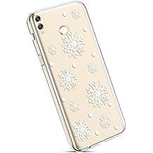 YSIMEE Fundas Huawei honor 8X Max Carcasas,Xmas Decoración Fundas Transparente Silicona Suave Ultra Fina Delgado Gel Bumper TPU Goma Protectora Carcasas-Copo de nieve