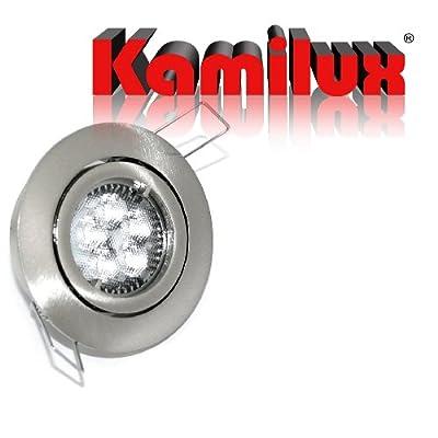 7 x LED Einbaustrahler Bajo in edelstahl-gebürstet inkl. DIMMBARER 6,8 Watt 230V Power LED Leuchtmittel Lichtfarbe in warmweiß von Kamilux - Lampenhans.de