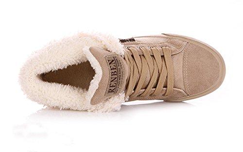 Minetom Donna Lace Up Neve Stivali Autunno Inverno Calzature Female Moda Flats Scarpe Cavaliere Stivaletti Cachi