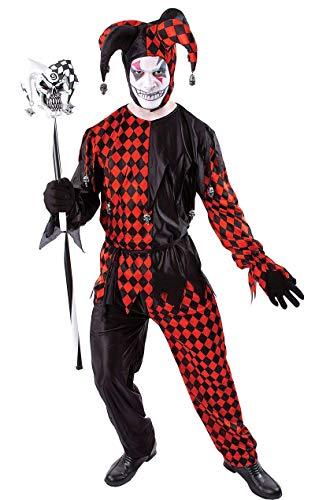 Erwachsene Böser Hofnarr Kostüm Halloween Verkleidung Herren Kostüm Extra (Hofnarr Kostüm Halloween)
