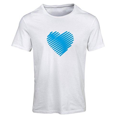 Frauen T-Shirt Stilvolle Herzen, ich liebe dich Geschenke Valentinstag Outfits (XX-Large Weiß Blau)