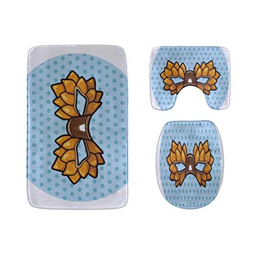 (Cartoon Party Mask Badteppich-Matten Set 3-teilige, weiche Duschbadeteppiche, Umrissmatte und WC-Sitzdeckelabdeckung Rutschfeste maschinenwaschbare Flanell-WC-Teppiche)