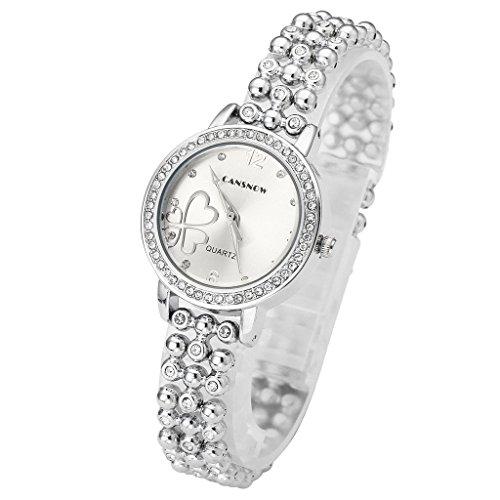 JSDDE Orologi Elegante Cuore Quadrifoglio Bracciale Orologio da polso con strass Tre Righe Bead Bracelet (Perla Del Trifoglio)