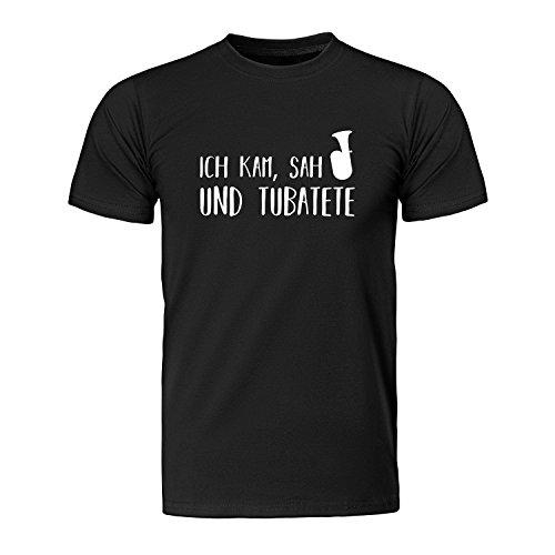 Ich kam, SAH und tubatete - Tuba, Herren T-Shirt - Fairtrade -, Größe M, schwarz