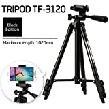 Marklif DSLR Tripod For Camera + Mobile Clip Holder] Fully Flexible Mount Cum Tripod , 3-section Lever-lock Legs For Easy Height Adjustments , Light Weight Tripods With Black Carry Travel Bag Latest 2018 Upgraded , Compatible With Most Video Cameras, Digi