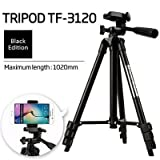 #4: SHOPEE BRANDED DSLR Camera Tripod - 3120 For Camera + Mobile Clip Holder ] Fully Flexible Mount Cum Tripod , 3-section lever-lock legs for easy height adjustments , Light weight Tripods Latest 2018 Upgraded , Compatible with most video cameras, digital cameras, still cameras, GoPro devices, smartphone adapters and scopes , Latest Trypod - 3120 for Canon, Nikon, Sony, Cameras, Camcorders, iPhone & Androids , Best Quality afordable Price