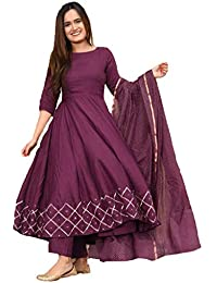 GoSriKi Women's Rayon Anarkali Kurta With Gold Printed Dupatta