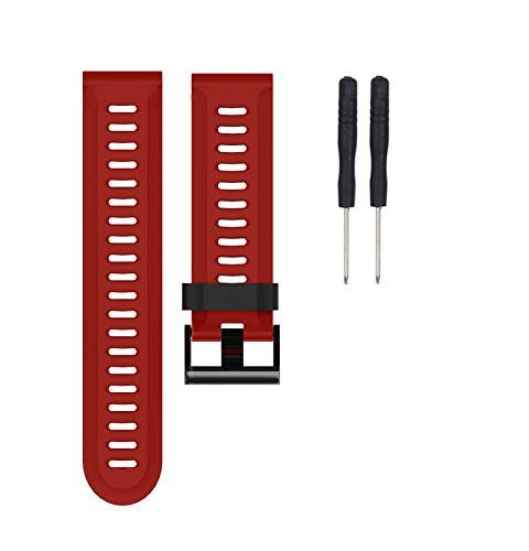 Bracelet, Yustar tracker de fitness Accessoires Sangle de bracelet en silicone de rechange avec outils de réparation Tournevis pour Garmin Fenix 3/HR M Red