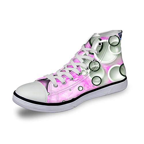 Casual Womens High Top Flat Shoes Sneakers Casual Canvas Sport Shoes Boots New pink Women's US 8 \u002F UK 6 \u002F EU 38