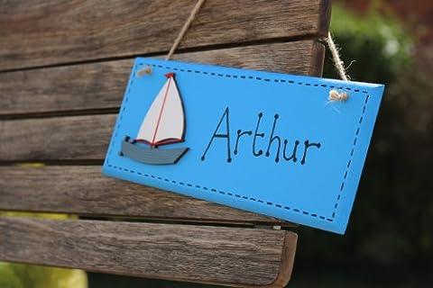 Personalised Wooden Bedroom Door Sign Name Plaque nautical, new baby, Christening, Birthday