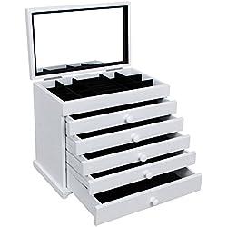 Songmics Caja joyero de madera con tapa tallada Organizador para bisuterías joyas Con 5 cajones Blanco JBC55W