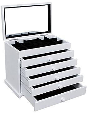 Songmics XXL Schmuckkasten Schmuckkoffer 6 Ebenen mit 5 Schubladen mit Spiegel Holz(MDF) weiß JBC55W