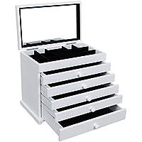 Songmics Coffret Boîte à Bijoux Présentoirs Montres Beauty Case avec 5 Tiroirs à 6 couches JBC55W