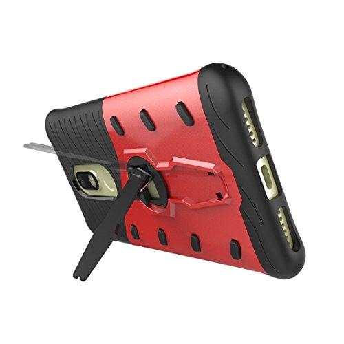 Motorola Moto M Gehäuse Schock-resistent 360 Grad Spin Sniper Hybrid Case TPU + PC Kombi-Gehäuse mit Halter für Motorola Moto M Fall by diebelleu ( Color : Blue ) Red
