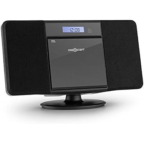 oneConcept V-13 minicadena compacta (equipo estéreo con reproductor de CD, MP3, USB, AUX, radio FM, 2 altavoces, mando a distancia, reloj con alarma, apto para montaje en pared) - negro
