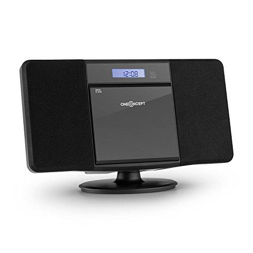 oneConcept V-13 • Equipo estéreo • Minicadena • Reproductor de CD con MP3 • FM • USB con MP3 • AUX • Mando a Distancia • Pantalla LCD • Despertador • Autoapagado • Montaje en la Pared • Negro