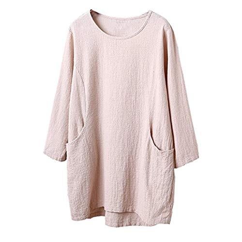 ESAILQ Frauen Baumwolle Leinen 4/5 Ärmel Tunika/Top Bluse(S,Beige)