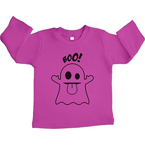 (Shirtgeil Süßes Geister Motiv Boo! Unisex Baby Langarmshirt Gr. 66-93 12-18 Monate / 86 Rosa)