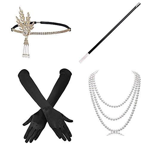 Amasawa Damen Accessoires Stirnband Halskette Handschuhe Zigarettenhalter Set Für Party Kleider Damen Kostüm Accessoires (Schwarz)