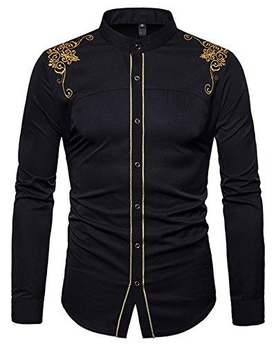 Whatlees Herren Gotik Hemd mit Golden aufgesticktes Design und Stehkragen - B964-black - M