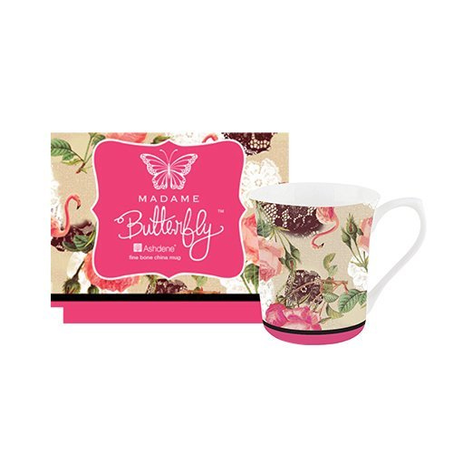 Ashdene Madame Butterfly - Flamingo Rose Wild Animals Fine Bone China Cup Mug Porzellantasse Tasse Becher tazza taza 8,5cm 250ml Gift box, best quality, ASHDENE, Australia Wild Roses Bone China