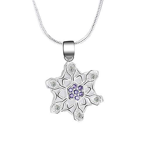 Diamant-Schneeflocke-Halsketten-Anhänger-Silber-Halskette Weihnachtsschmucksachen für Frauen-Geschenk zum Geburtstag (lila) 1 PC -