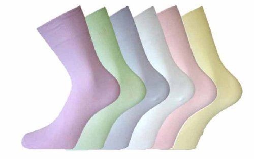 LADIES Cotton LOOSE TOP SOCKS Size 4-6 6-pack Pastel