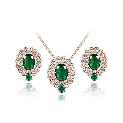YEAHJOY Women's Jewellery Set 18ct Rose Gold Plated Waterdrop Green Crystal Earrings and Necklace