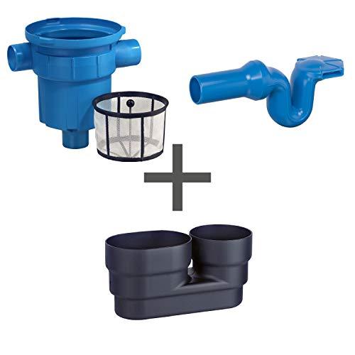 Regenwasserfilter Zisternenfilter 3P Spar-Set GF mit Kunststoffsieb für den Einbau in die Zisterne oder Kunststoffzisterne, Anschluss DN100, Höhenversatz 0 cm. Für die Regenwassernutzung im Garten