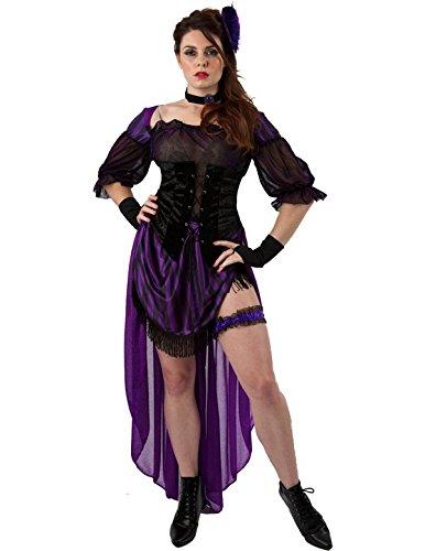 Ladies Lady Maverick Saloon Girl Burlesque Fancy Dress Costume Dress 10 to 12