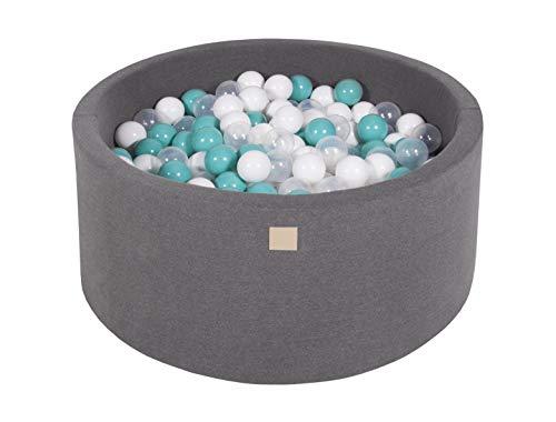 MeowBaby 90X40cm/300 Balles ∅ 7Cm Piscine À Balles pour Bébé Rond Fabriqué en UE Gris Foncé: Blanc/Turquoise/Transparent