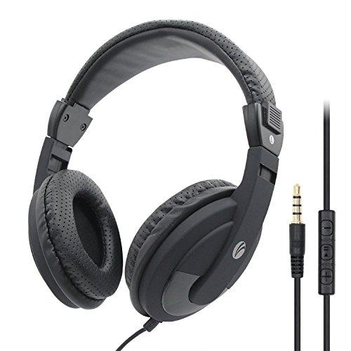 Preisvergleich Produktbild VCOM Wired Over Ear-Kopfhörer,  Stereo-Headset mit langem Kabel und Mikrofon,  verstellbares Stirnband für Erwachsene im Teenageralter Studenten Jungen Mädchen Büro Schule Skype Chat (Schwarz)
