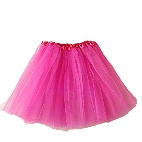 Andouy Damen Tutu Rock Mini Tüll Organza Petticoat Balletttanz Layred Kostüm Dress-up Sexy Größe 34-44(34-44,Fuchsie)