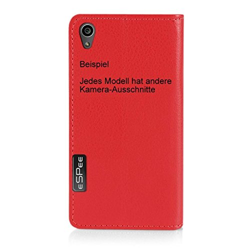 Für Apple iPhone --- 6s-Plus --- eSPee Hülle Schutzhülle Wallet Flip Case Schwarz mit Swarovski® Kristallen Lilie Fleur de Lies UNZERBRECHLICHER Silikon Schale / Bumper und Magnetverschluss Rot