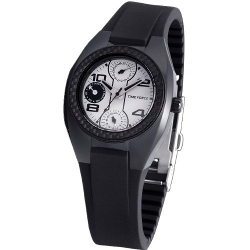 Time Force TF3114B02 - Reloj analógico de cuarzo para hombre con correa de caucho, color negro