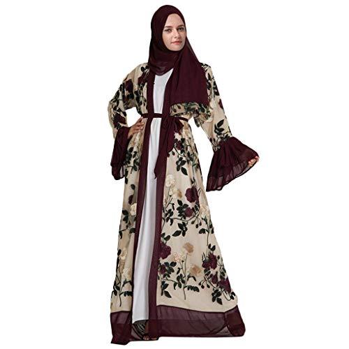 AIni Damen Muslimische Kleider,Elegante Muslimischen Blumen Stickerei öffnen Lange Strickjacke Maxikleid Kimono Abaya Kaftan Abendkleid Hochzeit Abaya Festlich Partykleid (L,Rot)