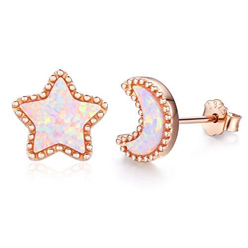 Ohrringe Sterne Silber 925 Sterling Silber Opal Ohrringe Knorpel Ohrringe für Frauen Stern Ohrringe Silber Mädchen (G-Rose gold-Star and Moon)