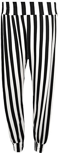 WearAll - Damen Hangover Kapuzen drucken lange Hülse Top Gestellte Damen Sweatshirt - 7 Farben - Größen 44-50 Schwarz Weiß Streifen