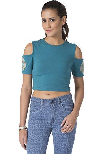 Chumbak Geo Baboon Cold Shoulder Blue Crop Top - M