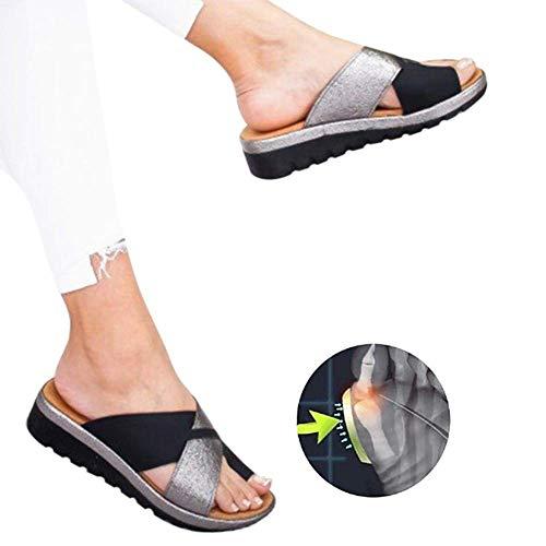 HLJ Frauen Bequeme Plattform Sandale Schuhe Sommer Strand Reise Schuhe,Bunion Splints, Summer Damen Plattform Schuhe,Frauen Große Zehenkorrektur Bunion Corrector (Lv Schuhe)