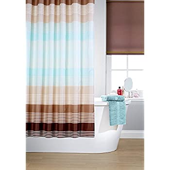 vibrant linear cross striped polyester shower curtain including 12 midbrown shower curtain rings by waterline