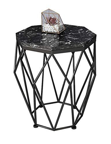 Table d'appoint en Fer forgé/Table Basse en marbre, Petit Appartement Moderne, mobilier de Table de Salon Moderne, Support en métal, Rond, Noir (47 × 47 × 56cm)