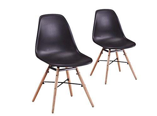 Usinestreet Lot de 2 Chaises scandinaves LUNA Coque plastique et pieds bois - Couleur - Noir