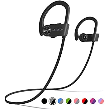 f573d3c7b0f Bluetooth Headphones, LETSCOM IPX7 Waterproof Wireless Sport Earphones  Bluetooth 4.1, HiFi Bass Stereo Sweatproof Earbuds w/Mic, Noise Cancelling  Headset ...