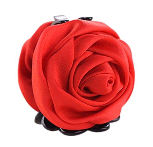 un Belles Clips Rose Fleur Cheveux Ponytail clip, rouge
