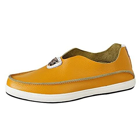 WALK-LEADER Mens Funny Leisure Slip On Loafers Leather Stylish Sneakers