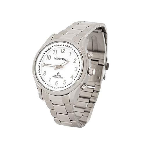 Sprechende Funk-Armbanduhr für Damen mit Gliederarmband Solar White