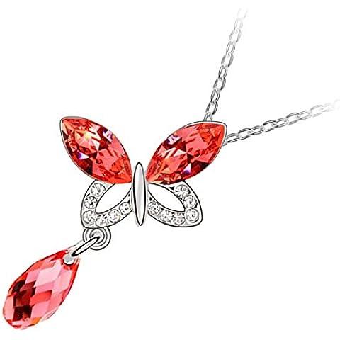 GWG® Collar Chapado en Oro Blanco 18K Mariposa Volanda con Dos Alas de Cristales Ovalados y Piedra Gota de Agua de Colores Varios como Colgante para