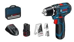 Bosch Professional Akkuschrauber GSR 12V-15 (2 Akkus, 12 Volt, 39-tlg. Zubehör-Set, Schrauben-Ø max: 7 mm, in Tasche)