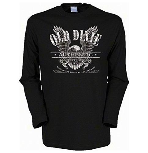 Adler Eagle Old Dixie Langarmshirt Herren Gr XXL in schwarz (Dixie Adler)